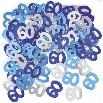 Confettis metallic 60 ans Bleu