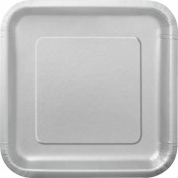 Assiettes carton jetables à dessert carrée argent