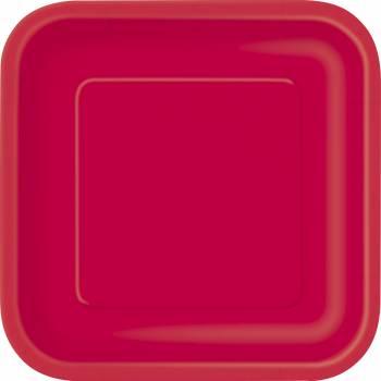 Assiettes carton jetables carrée rouge