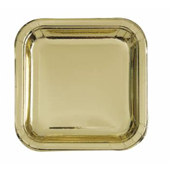 8 Assiettes carrée dessert en carton or métallisé