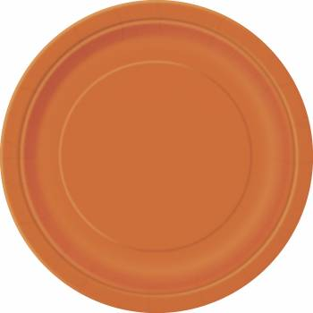 16 Assiettes en carton rondes orange
