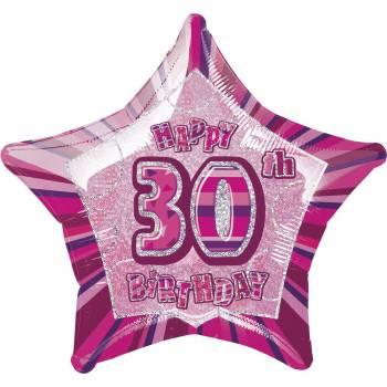 Ballon Star Pink 30 ans