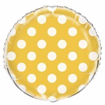 Ballon hélium jaune à pois
