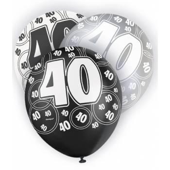 6 Ballons noirs/blancs/gris 40 ANS