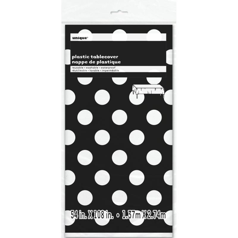 nappe jetable plastique pois noir et blanc. Black Bedroom Furniture Sets. Home Design Ideas