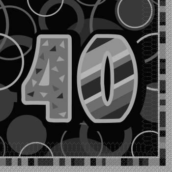 16 Serviettes 40 ans Black/White
