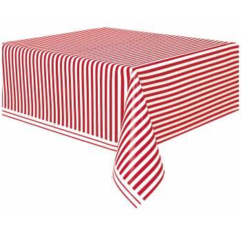 Nappe jetable plastique rouge à rayure