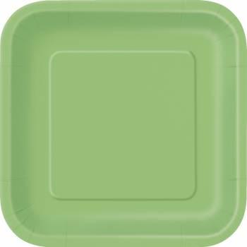 Assiettes carton jetables carrée vert lime