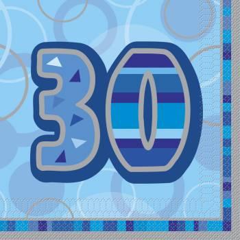 16 Serviettes 30 ans Bleu