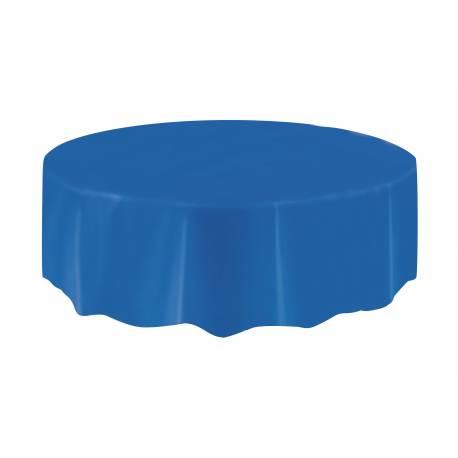 Nappe ronde jetable plastique bleu royal pour la décoration de table de votre anniversaire. Ø 213 cm