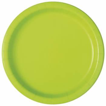 16 Assiettes en carton rondes fluo verte