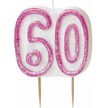 Bougie 60 ans Pink pailleté