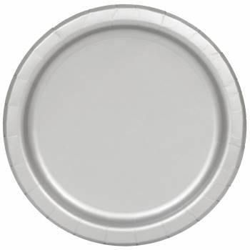 Assiettes à dessert carton jetables rondes argent