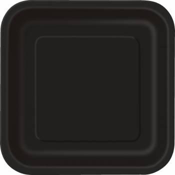 Assiettes carton jetables carrée noires