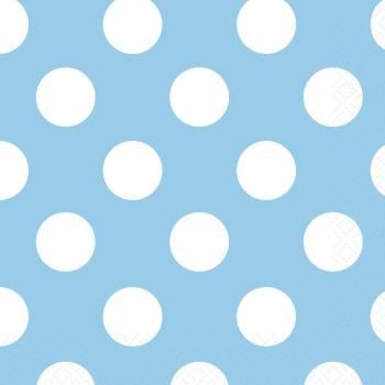 Serviettes à dessert jetables à pois bleu clair