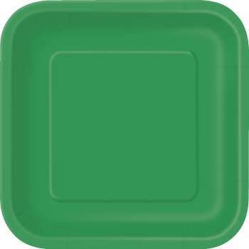 Assiettes carton jetables carrée verte