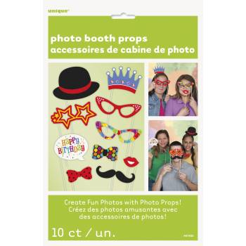 10 Accessoires photobooth Happy Birthday