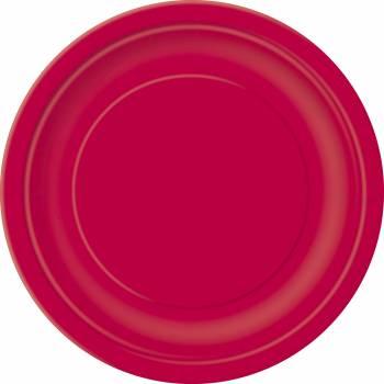 Assiettes carton jetables rondes rouge