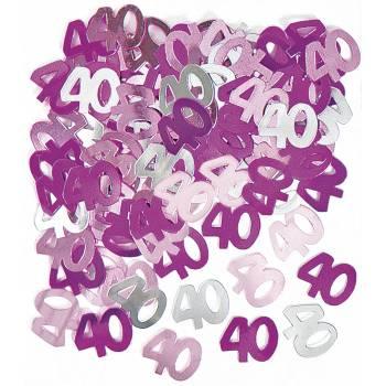 Confettis metallic 40 ans Pink