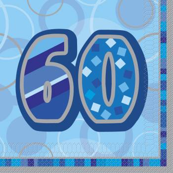 16 Serviettes 60 ans Bleu