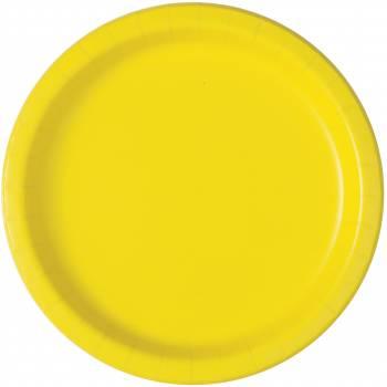 20 Assiettes dessert fluo jaune