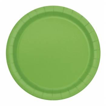Assiettes à dessert carton jetables rondes vert
