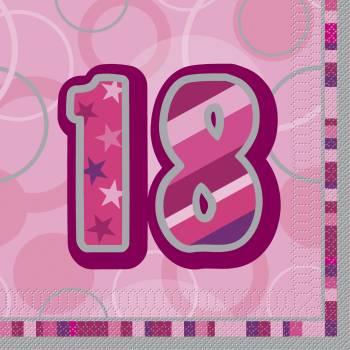 16 Serviettes 18 ans Pink