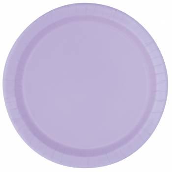 Assiettes à dessert carton jetables rondes lavande