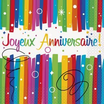 16 Serviettes Joyeux anniversaire Rainbow
