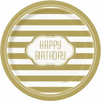 8 Assiettes golden birthday