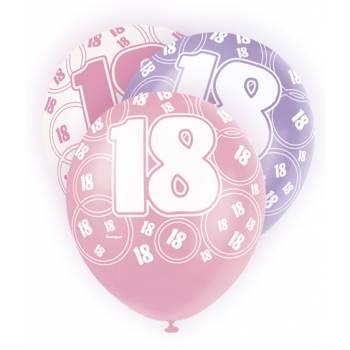 6 Ballons rose/blanc/parme 18 ans