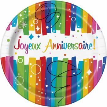 8 Assiettes Joyeux anniversaire Rainbow