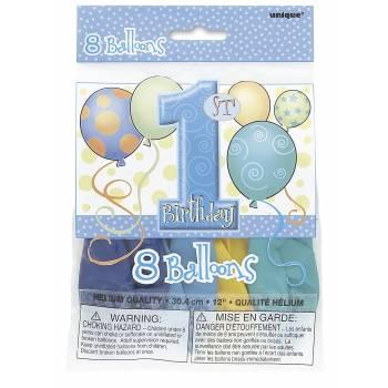 8 Ballons 1 an ballons bleu