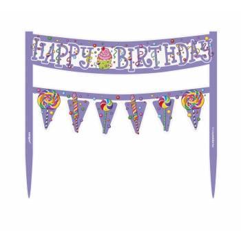 Kit fanions Candy Party pour gâteau