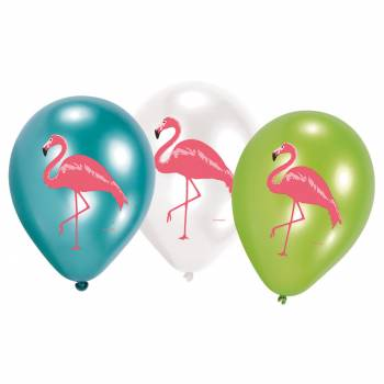 6 ballons quadri flamant rose