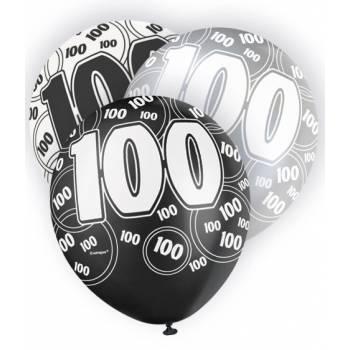 6 Ballons noir/blanc/gris 100 ANS
