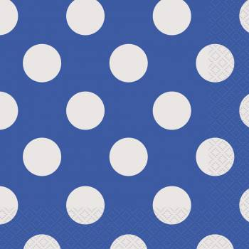 16 Serviettes pois bleu