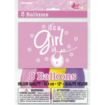 8 Ballons it's a girl assortis