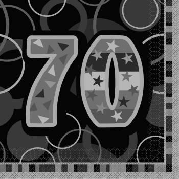 16 Serviettes 70 ans Black/White