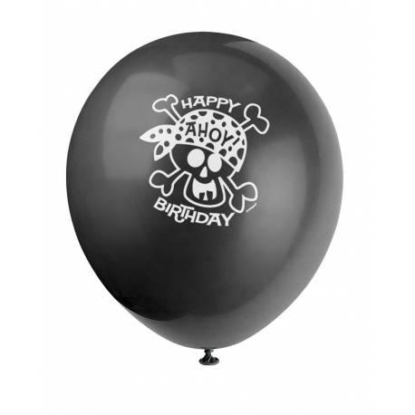 Lot 8 Ballons imprimé Tête de Mort Pirate en latex pour créer une belle décoration d'anniversaire à thème à votre enfant.