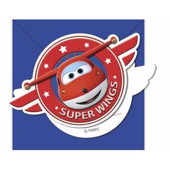 6 Cartes invitations avec enveloppes Super Wings