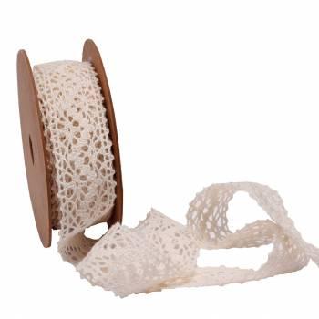 Bobine ruban crochet écru 23mm