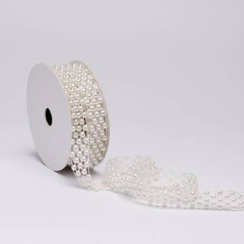Bobine ruban de perles ivoire