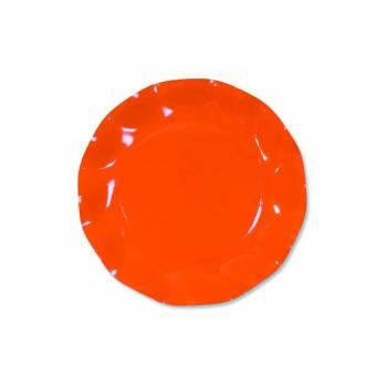 Assiettes jetables forme corolle orange