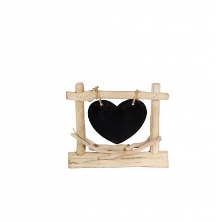 Centre de table ardoise bois flott coeur deco anniversaire for Centre de table en bois flotte