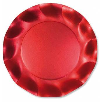 Assiettes jetables forme corolle rouge