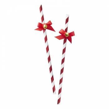 25 Pailles rouge Christmas clochettes