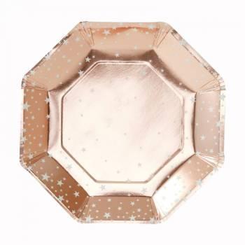 8 Assiettes octo étoiles gold rose