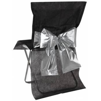 4 Housses de chaises noir noeud métallisé argent