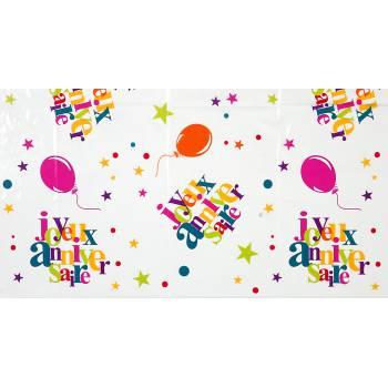 Nappe Joyeux anniversaire multicolore
